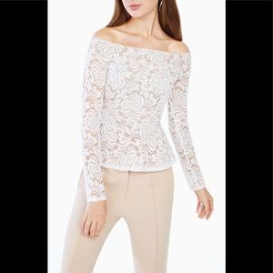 BCBG Holiday White Lace off the shoulder top XS